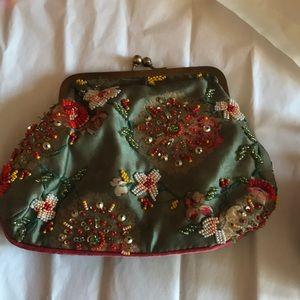 Anthropologie beautiful velvet, beaded coin purse